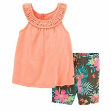 Carter's Girl Pleated Tank and Tropical Floral Biker Shorts Set NWT 2T FREE SHIP