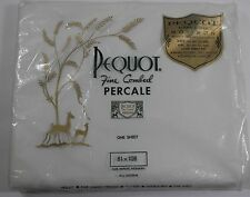"""NIP VINTAGE PEQUOT FIN COMBED PERCALE DOUBLE FLAT SHEET WHITE 81"""" X 108"""" 180TC"""