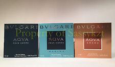 BVLGARI AQVA POUR HOMME + AQVA MARINE + AQVA AMARA 3 X 1.5 ml sample spray vial
