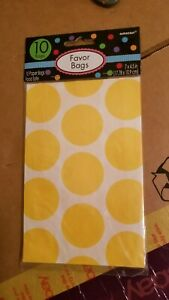 Amscan 10 Pack Dotty Favor Bags Birthday Party Bag Wedding Gift Accessory Yellow