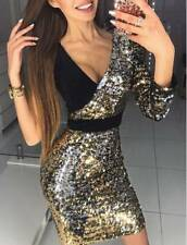 UK Womens V Neck Sequin Sexy Evening Party Bodycon Sparkly Short Mini Dress 6-14
