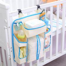 Baby Crib Storage Bag Hanging Diaper Organizer Nursery Bed Bedside Pocket Kids D