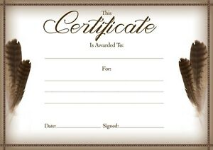 12 x Blank Award Certificates Suitable For Shamanic Courses Munay Ki 4 Varieties