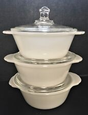 FIRE KING Set of Three (3) RARE 8 oz WHITE Mini Casserole Dishes with Lid #402