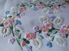 Stunning 'Fairistytch' APPLE BLOSSOM/DAISIES Vintage Hand Embroidered Tablecloth