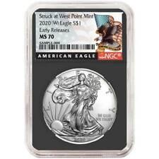 2020 (W) $1 American Silver Eagle NGC MS70 Black ER Label Retro Core