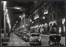 cartolina CAGLIARI via Roma-notturno AUTO-VESPA