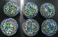 """6 Czech Vaseline Glass Buttons #B140 - 23 mm or 7/8"""" - UNIQUE!!"""
