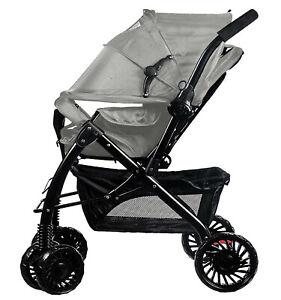 Grey Stroller with Storage Lightweight Buggy Easy Fold Bigger Kids Pushchair UK