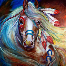 Hand-painted Animal Oil Painting Wall Decor Art on Canvas, Colorful Horse 24x24