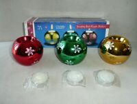 Vintage Snowflake Ball Tealight Candle Holders Gold Green Red Metallic Set Of 3