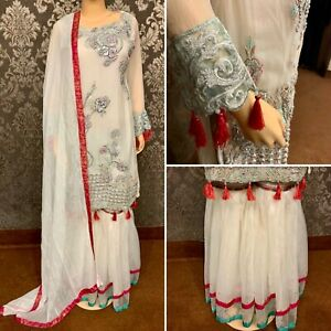 Pakistani Egg Shell White Straight Style Embroidered Sequins Gharara Suit,Small