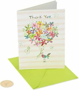 Papyrus Thank You Card by Turnowsky Birdie Bird with Bouquet 3D Flowers & Gems