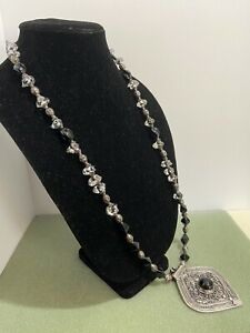 Handmade Beaded Necklace with Glass & Metal Beads Silver Pendant Black Cabochon