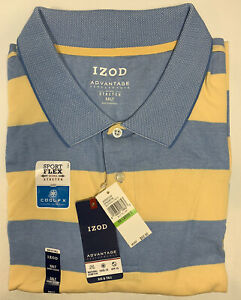 IZOD Men's Big & Tall Advantage Performance Short Sleeve Stripe Polo 5XLT