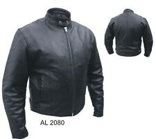 Allstate Mens Black Leather Scooter Jacket w Euro Collar Zipout Liner Size 48