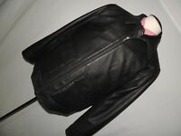 Black zip front men's 100% leather jacket coat size M excellent condition.