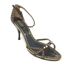 Women's Prada Milano Strappy Sandals Heels Shoe Size 38 EU/8 US Brown Leather F2