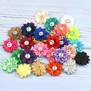 30 Colors 10-50PCS Satin Ribbon Flowers with crystal Wedding Appliques Craft