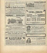 Stampa antica pubblicità COSTRUZIONI MECCANICHE e altro 1896 Old antique print