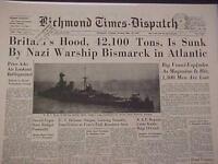 VINTAGE NEWSPAPER HEADLINE ~WORLD WAR 2 BISMARCK BATTLESHIP SINKS HOOD WWII 1941