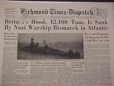VINTAGE NEWSPAPER HEADLINE~WORLD WAR 2 NAZI BISMARCK BATTLESHIP SINKS HOOD WWII~