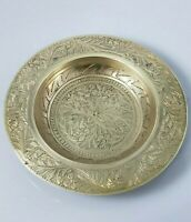 Vintage Gold Brass Plate Solid Ornate Small Asian Flower Design Made In India