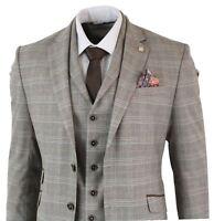 Mens Tan Brown 3 Piece Herringbone Tweed Check Vintage Slim Fit Suit Classic