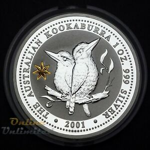 2001 Australia $1 Kookaburra 1oz Silver Centenary of Federation Gold Star Privy