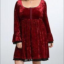 NEW TORRID GOTHIC CRUSHED RED VELVET BELL SLEEVE DRESS - SIZE 3 - NWT HALLOWEEN