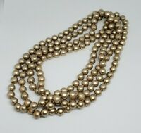 """Vintage Knotted Bronze Glass Pearl Necklace 60"""""""