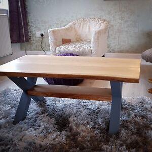 Live edge Solid Oak Farmhouse Coffee Table with Hardwood Cross Legs and Shelf