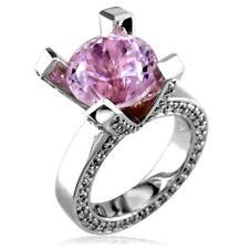 Ring, 1.75Ct Diamonds in 18k White Go Large Round Kunzite and Diamond Right Hand