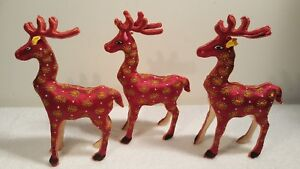 """NEW Lot three (3) Standing Stuffed Reindeer 8"""" Christmas Decoration NOT TAG/ BOX"""