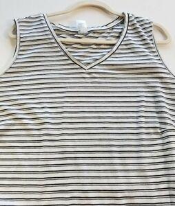 Anko Women's Tank Top Sz 24 Black White Stripes V Neck Popover Casual Cotton