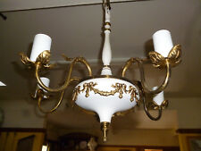 ANTIQUE ART NOUVEAU LARGE 5 BRANCH CHANDELIER WHITE with BRASS - 50cm span
