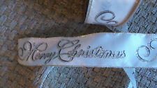 Xmas Ribbon Merry Christmas Glitter Script Ivory Wired Edge 2.5 in. Wide 5 Yds