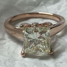 3.36 Ctw Vvs-I Princesa/Redondo Anillo Solitario Diamante de Compromiso 14K