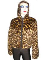 Leopard Cheetah Skin Faux Fur Camo Fluffy Furry Hooded Zip Up Short Jacket Coat