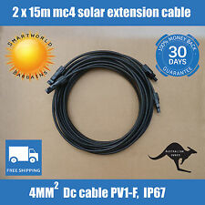 2 X 15 Meter 4mm2 MC4 Solar Panel Extension Cable Male-Female Connectors