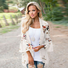 UK Plus Size Women Holiday Lace Floral Kimono Cardigan Ladies Summer Tops Blouse