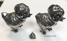 Very Unusual Antique Pair Of Silver Pepperettes Of Chicks.
