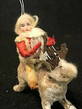 Extremely Rare German Cotton Boy Riding A Cotton Reindeer Christmas Vintage