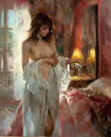 LMOP587 sexy girl portrait dressing tomorrow hand art oil painting on canvas