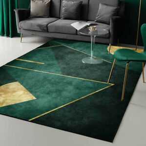 Green Gold Geometry Floor Mat Area Rug Non-Slip Carpet Bedroom Room Home Cushion