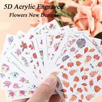 Wrap Engraved Flower Design Nail Embossed Stickers Self Adhesive 5D Acrylic