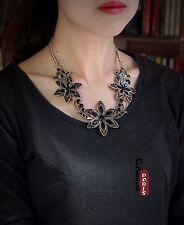 Collier Grosse Fleur Noir Mini Perle Baroque Original Mariage Rétro QT8