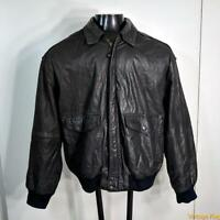 ADVENTURE BOUND Wilsons Leather Flight JACKET Mens Size L Black insulated