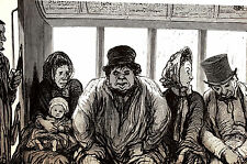Honore Daumier 1972 - PEOPLE on a STREET CAR - TROLLY - Vintage Print Matted