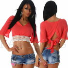 Sexy Women's Ladies Crochet Lace Crop Top Blouse V-Neck Back Tie Size 8 10 S M